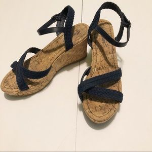 Maurices Blue Braided Wedges